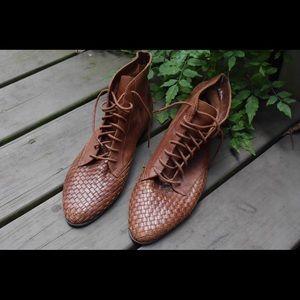 🌿Vintage lace up basket weave leather boho boots